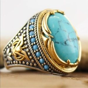 Vintage 925 Silver Turquoise Ring Women Size 8